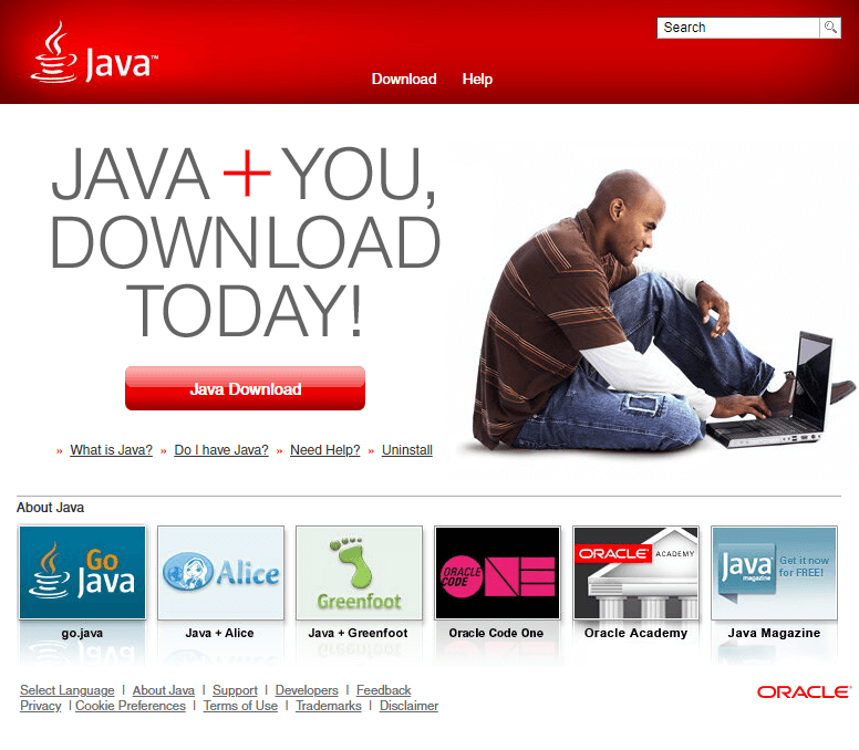 The very modern looking Java homepage.