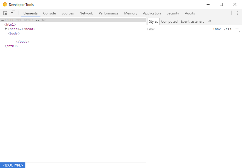 The Developer Tools window in Chrome.