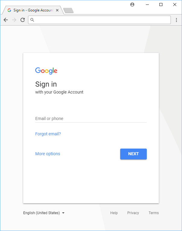 The Google sign-in page.