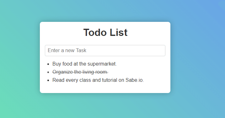 The todo list app we'll be building.