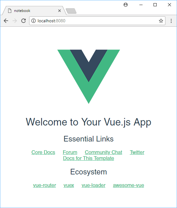The default Vue app.