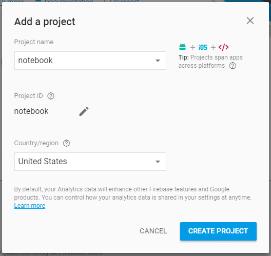 Creating a new project on Firebase.