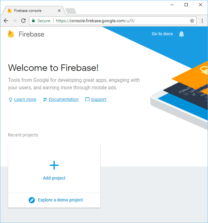 Firebase getting started page.