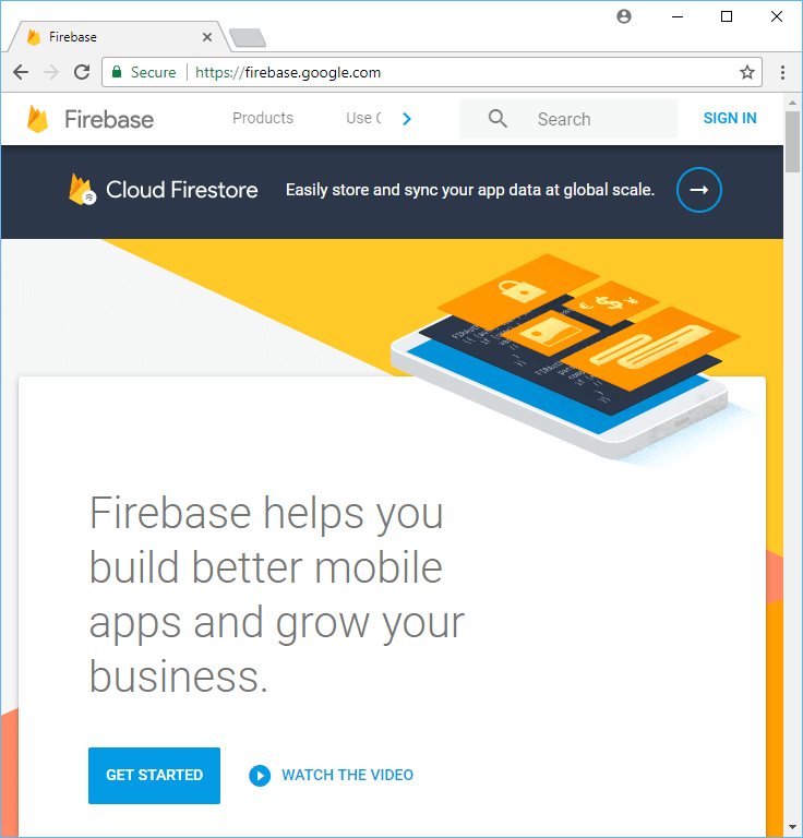 The Firebase homepage.