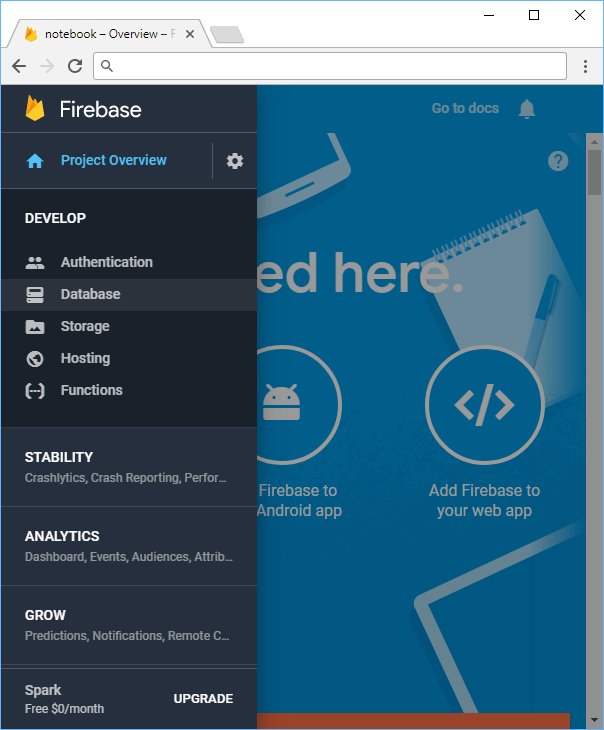 The Firebase menu.